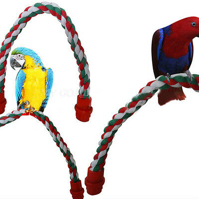 Pet Bird Parrot Rope Cockatiel Parakeet Conure Perch Chew Peck Cage Standing Toy
