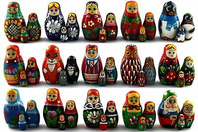 Big Super Lot 15 Matryoshka Russian Nesting Doll Puppe Wooden Babushka Gift 3 pc