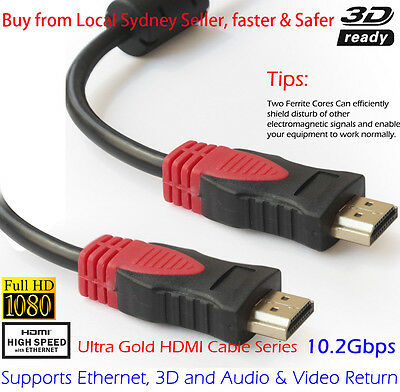 4K Ultra HD Premium HDMI Cable V1.4 3D High Speed Ethernet Gold 5M Magnetic AU