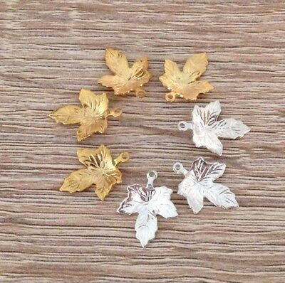 24/25 Pcs Gold & Silver Plated Maple Leaf Charms Pendant Canada Jewelry
