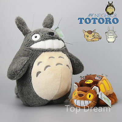 Studio Ghibli My Neighbor Totoro Cat Bus & Grin Totoro Plush Doll Soft Toy 15''