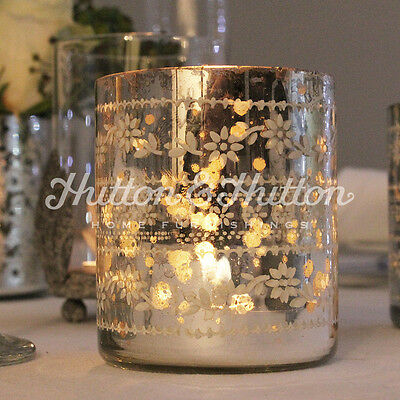 Vintage Antique Shabby French Silver Glass Tea Light Candle Votive Wedding