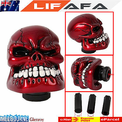 Skull Universal Car Manual Gear Stick Shift Shifter Lever Knob Wicked Carved RED