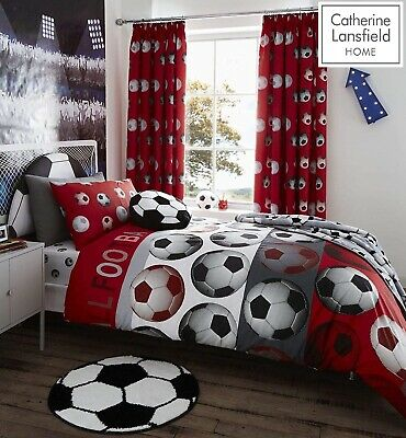 Catherine Lansfield Football Red Duvet Cover Set Fitted Sheet Curtain Range