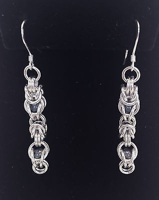 Chainmaille Sterling Silver Byzantine Earrings w/ Captured Blue beads. 2 1/4 in.
