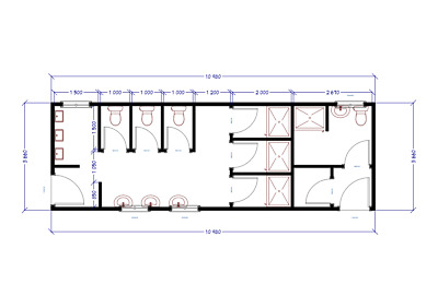 36ft X 12ft Modular Building, Portable Cabin, Toilet block, welfare facilities