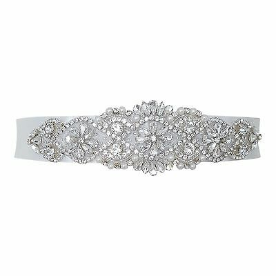 Wedding Dress Belt Bride Bridesmaid Sash Ivory Crystal Vintage Sparkle B102