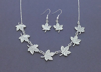 Antique Silver Maple Leaf Necklace & Earrings Set Leaves Pendant Canada Jewelry