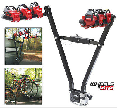 3 Bike Holder Rack Bicycle Transport Carry With Car Tow Bar Travel Cycle Carrier