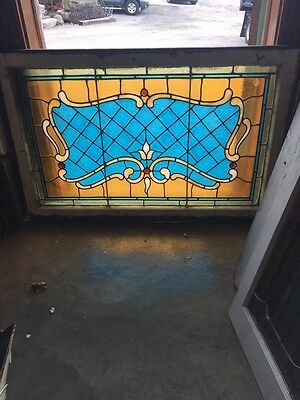 Sg 694 Antique Stained Glass Transom With Jewels