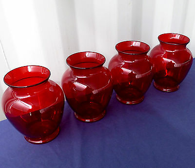 """2 pcs. 6.25""""x 3.5"""" NEW RUBY RED PLASTIC GINGER VASE FREE SHIPPING!"""