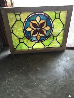 Sg 713 Antique Stained Glass Flower Window