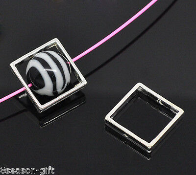 20 Silver Plated Square Bead Frames 20x20mm