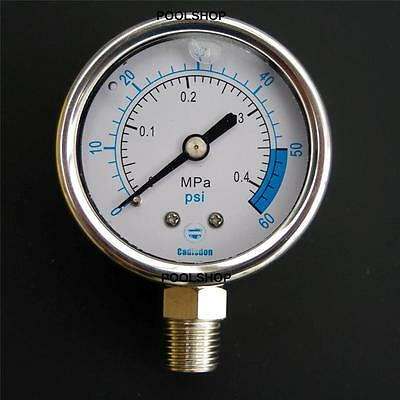 Pressure Gauge Stainless Steel Swimming Pool Sand Filter Backwash Multi Valve