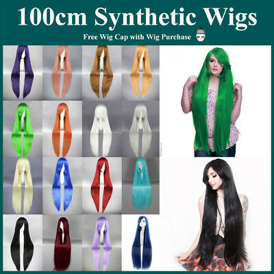 Long 100cm Cosplay Straight Sleek Wigs Full hair with Side Bangs For Women
