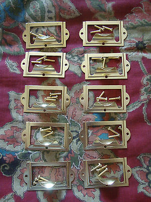 """10 Brass Plated Library Label Drawer Pulls With 30 1/2"""" Brass Screws - New"""