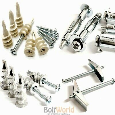 Cavity Plasterboard Drywall Plugs Screws Spring Toggle Speed Plugs Metal Plastic