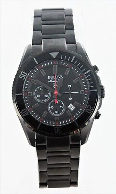 Bulova Marine Star Men's 98B231 Quartz Chronograph Black Bracelet 34mm Watch