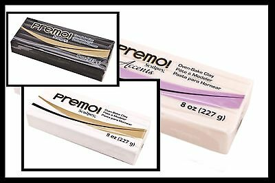 Sculpey PREMO  -  Polymer Clay - Large 227gm Block - Black, White or Translucent