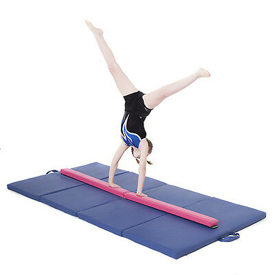 Pink Large 8ft Gymnastics Folding Balance Beam 2.4M Faux Leather Gym Training