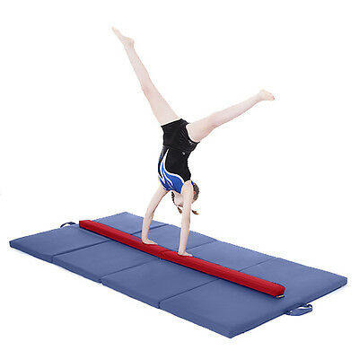 Red Large 8ft Gymnastics Folding Balance Beam 2.4M Faux Leather Gym Training