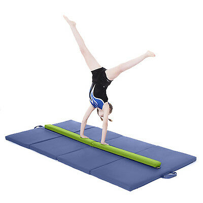 Lime Large 8ft Gymnastics Folding Balance Beam 2.4M Faux Leather Gym Training