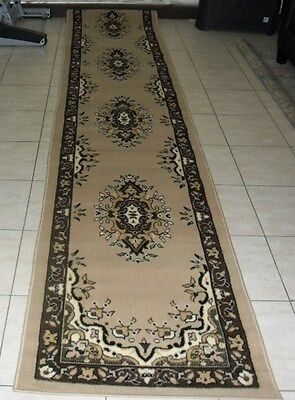 New Beige Extra Long Persian Design Hallway Floor Runner Rug 80X400Cm