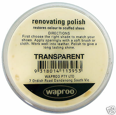 TRANSPARENT CLEAR Shoe Polish Cream - for  Leather SHOES / BOOTS/ Bags  WAPROO