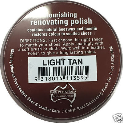 LIGHT TAN  Shoe Polish - Restore Colour to Leather SHOES / BOOTS / BAGS WAPROO