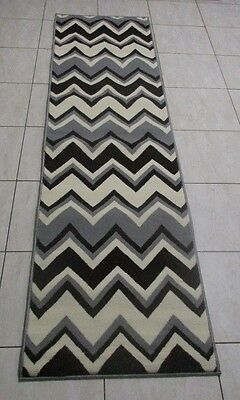 New Dark Brown/grey Modern Hallway Runner Rug 60X220Cm