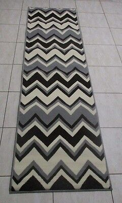New Dark Grey/cream/brown Modern Hallway Runner Rug 60X220Cm