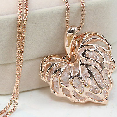 NT Fashion Silver/Gold Plated Heart Pendant Long Necklace Chain Jewelry Gift