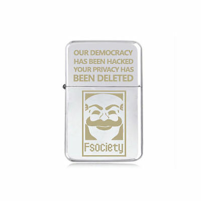STAR engraved LIGHTER  MR ROBOT F Society OUR DEMOCRACY  EVIL CORP 5 colours