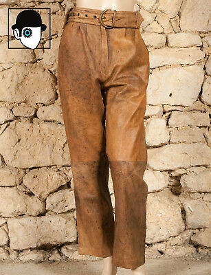 VINTAGE 80s PEGGED LEATHER TROUSERS - UK 12 - (Q)