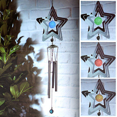 Hanging Wind Chimes Solar Powered Colour Changing LED Outdoor Garden Light