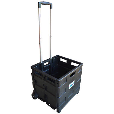 New Large Folding Basket Boot Shopping Cart Trolley Crate Heavy Duty 35Kg