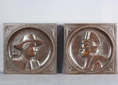 Pair of French Carved Wood Panel  Brittany Breton