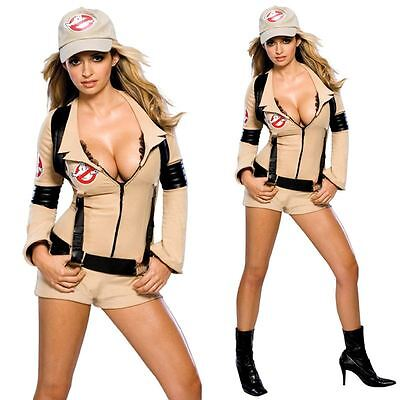 Ladies Ghostbusters Fancy Dress Costume Halloween 80s Film Adult Outfit