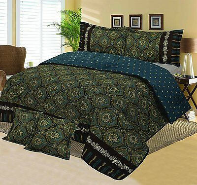 Cotton Rich Multi Quilted Bedspread Set Double/king Size - Cambridge