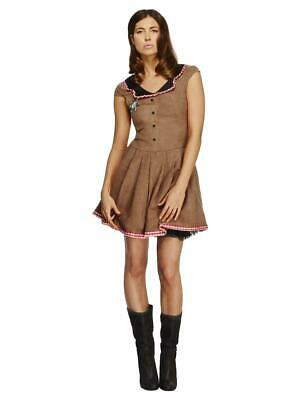 Ladies Wild West Cowgirl Cowboy Western Fancy Dress Costume Adult Outfit