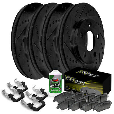 Ceramic Pads F2086 FRONT KIT Black Hart *DRILLED /& SLOTTED* Disc Brake Rotors