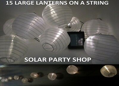 15x Large Solar Chinese Lanterns Warm White LEDs Garden Wedding Decorations
