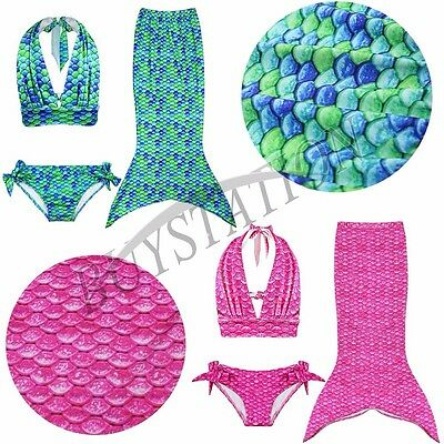 Girls Kids Mermaid Tail Swimmable Bikini Set Swimwear Swimsuit Swimming Costume