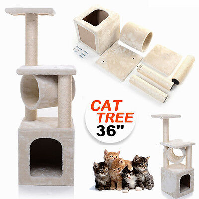 36 inch Cat Tree Activity Centre Scratcher Scratching Post Toys BedAU CE