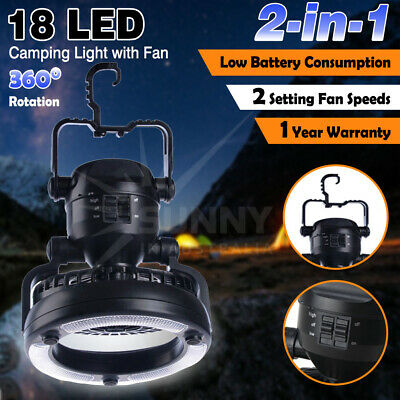 2-in-1 18 LED Camping Fan Flashlight and Ceiling Fan & Multi Tool Cards 11 in 1