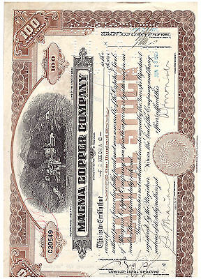 1929 Magma Copper Company Stock Certificate - Nice Artwork & Signatures !!! SG6
