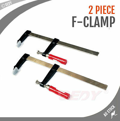 2 PC 100 x  400 Heavy Duty Screw Handle F Clamp Wood Metal Work Quick Action