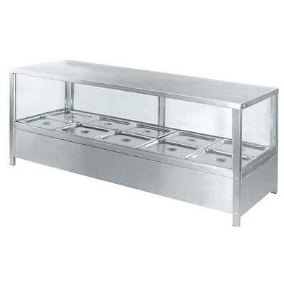 Countertop Hot Bain Marie Display, Square Heated Food Unit, 8x 1/2 GN Pans