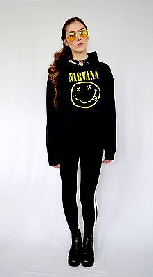 Vintage 1992 Nirvana Grunge Dated authentic black hoodie hooded sweatshirt