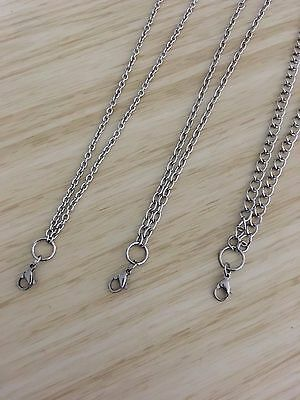 Floating Charm Locket Stainless Steel Ball Plain + Lobster Clasp Necklace Chain